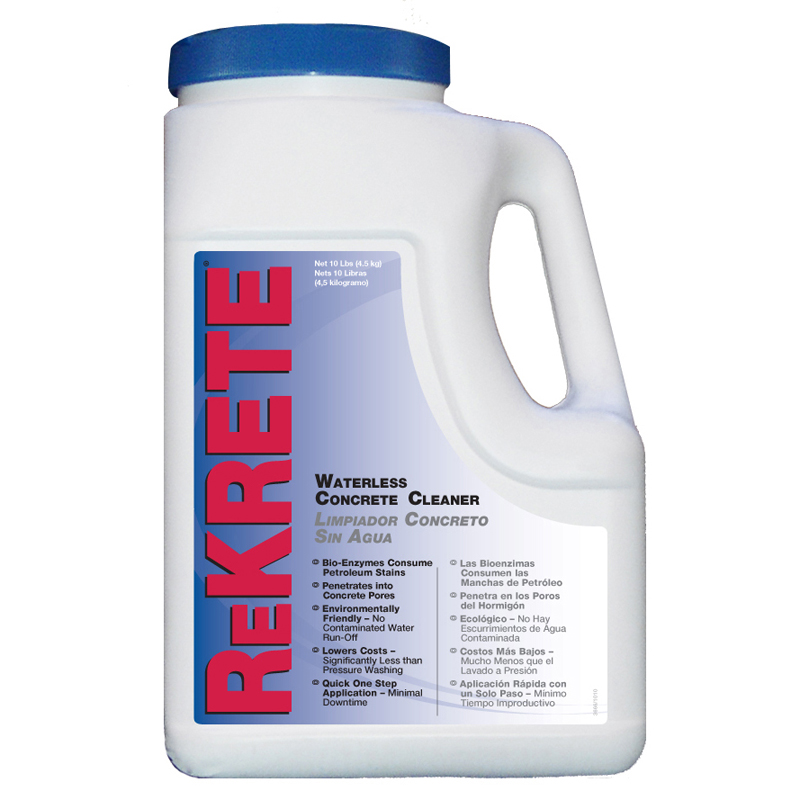 Rekrete waterless oil stain remover 10lb tub 4 per case for Indoor concrete cleaner